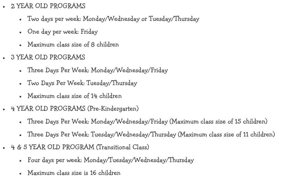 Preschool Our Program Page 2