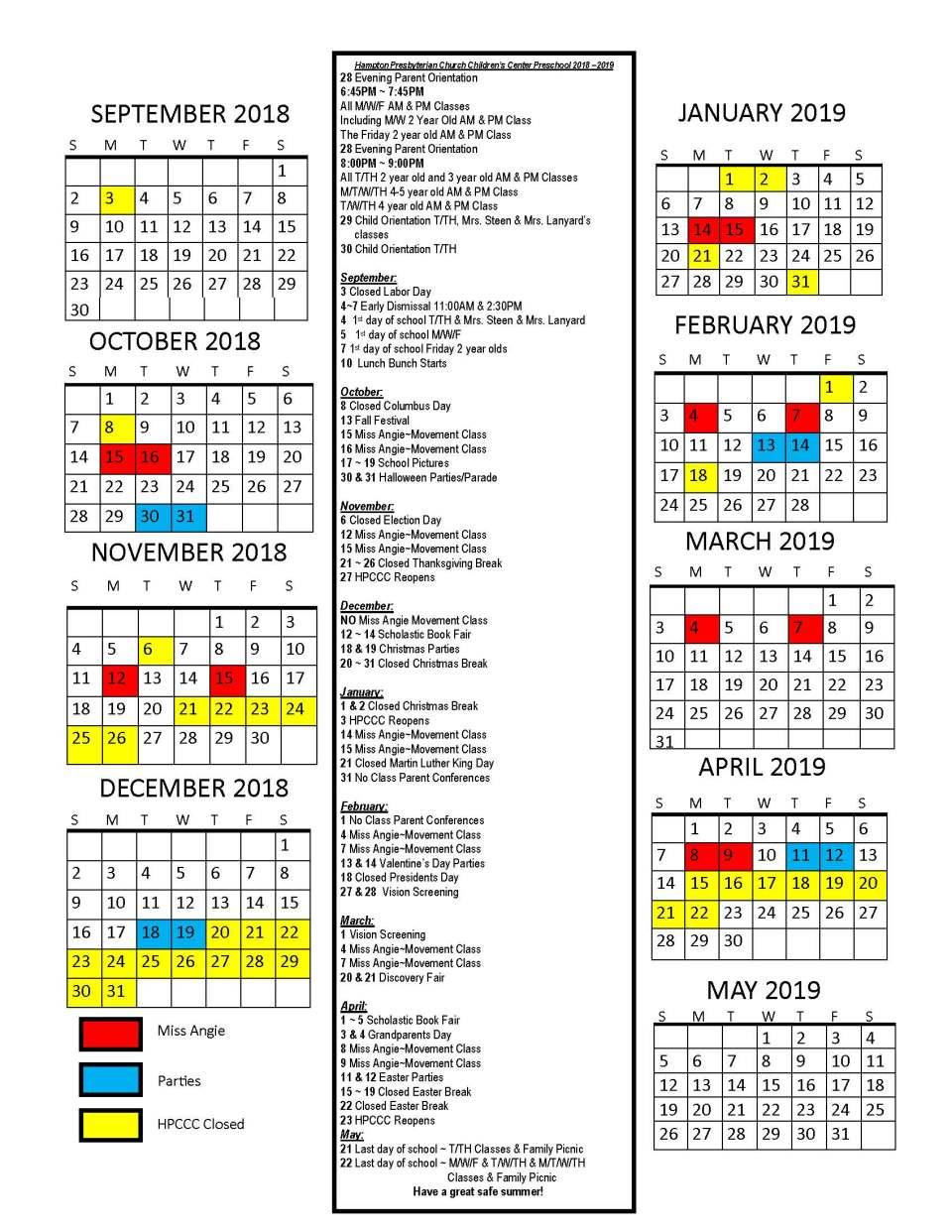 HPCCC Calendar Parents 2018 ~ 2019